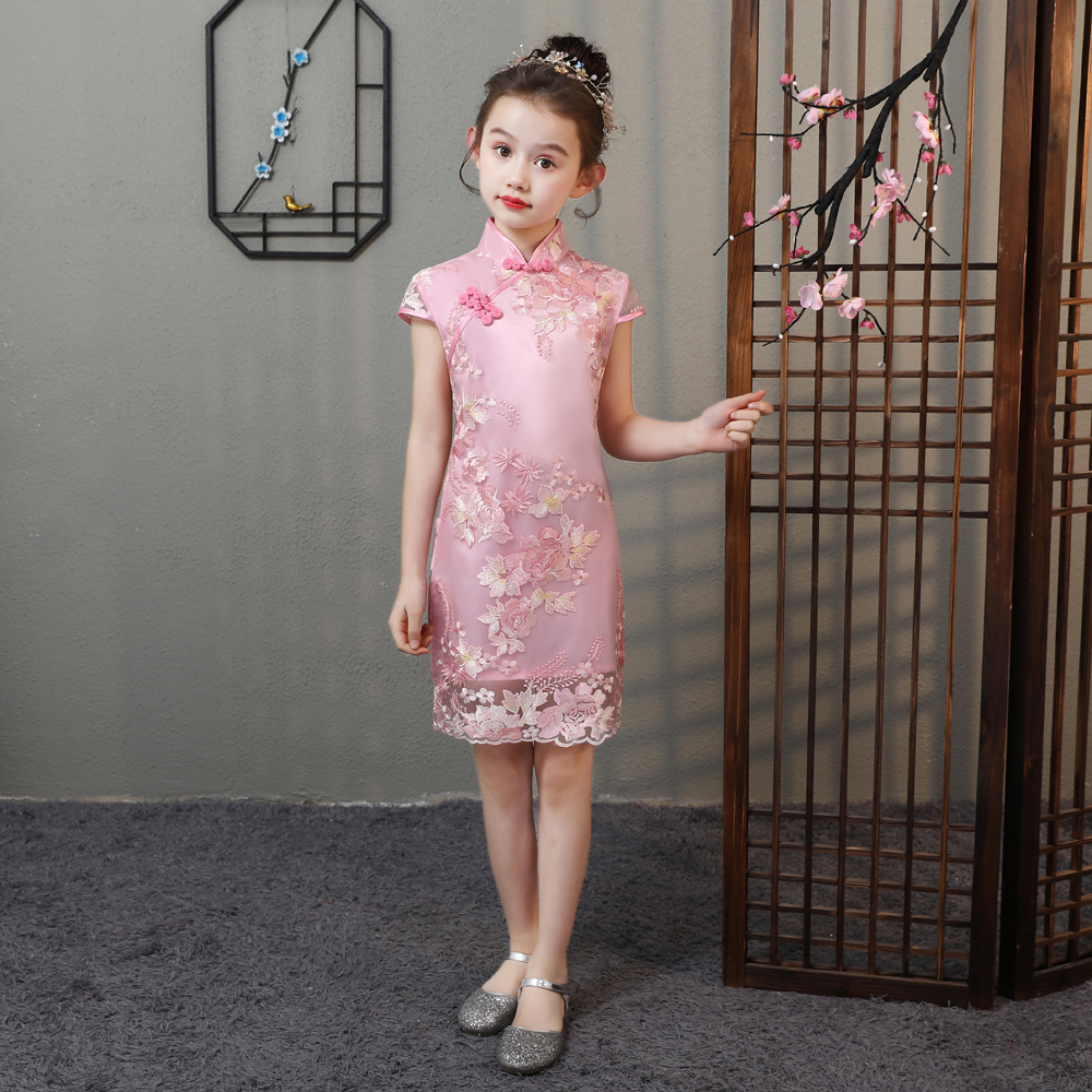 Lovely Girls Summer Lace Cheongsam Dress Cute Princess Girls Flower Embroidery Dresses Kids Party Ball Gown Qipao Clothing