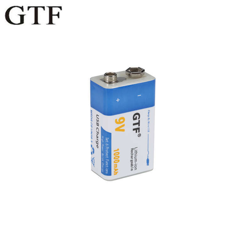 GTF USB 9V 1000mAh Li-polymer Rechargeable Battery USB Lithium Battery For Microphone Toy Remote Control Drop Shipping
