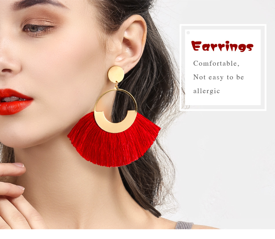 H01907d9003cb47ddb4d11e18310a9909r - BLINLA Fashion Bohemian Big Tassel Dangle Drop Earrings for Women Statement Wedding Red Fringe Female Earrings Za Jewelry