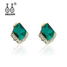 DREJEW Vintage Red Blue Green Black Zircon Statement Earrings 2019 Korean Luxury Rhinestone Alloy Stud for Women HE8271