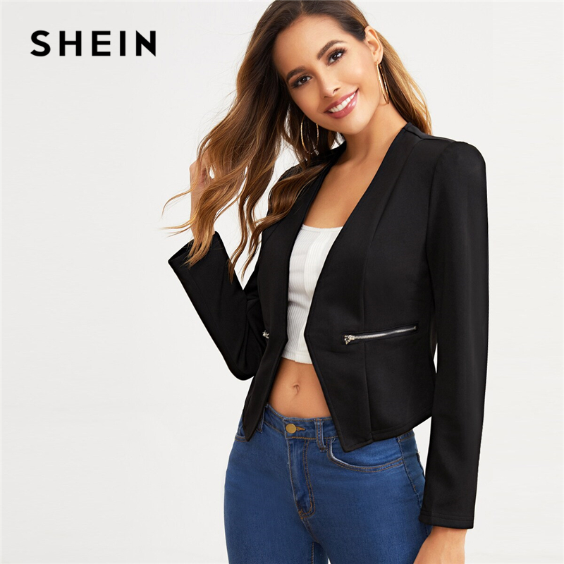 SHEIN Black Open Placket Zip Detail Blazer Women Spring Autumn Solid Fitted Outwear Office Ladies Elegant Coat Blazers
