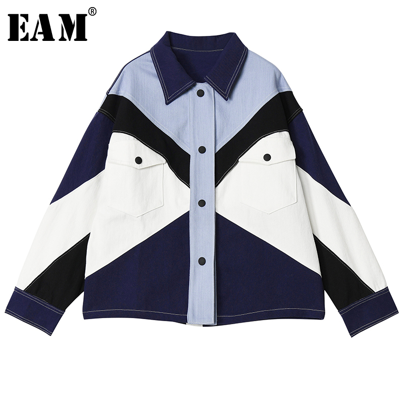 [EAM] Loose Fit Contrast Color Split Big Size Denim Jacket New Lapel Long Sleeve Women Coat Fashion Tide Spring 2020 1S255