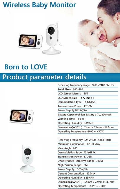 3.5 Cal bezprzewodowy Monitor kolorowy dla dzieci wysokiej rozdzielczości dla dzieci niani aparat bezpieczeństwa monitorowanie temperatury w nocy muzyki