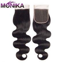 قطعة شعر طبيعي من Monika برازيلي مموج من الدانتيل 4x4 خالية من الشعر/وسط/3 أجزاء مغلقة غير ريمي