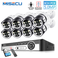 MISECU H.265 8CH 5MP POE NVR Kit CCTV Security System Two way Audio AI IP Camera Outdoor Color Night P2P Video Surveillance Set