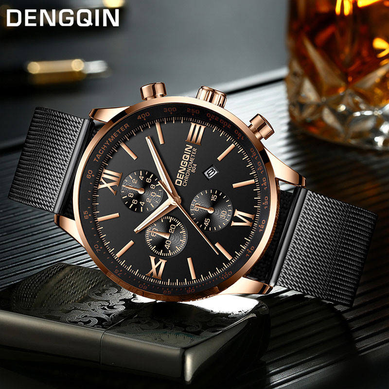 DENGQIN Men's Wrist Watch Stainless Steel Casual Quartz Analog Date Watch Man Watches Mens Clock Relogio Masculino 2019