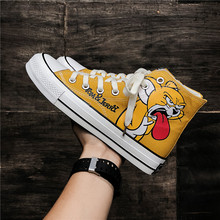 Best Sellin Men Casual Canvas Shoes Fashion 2019 For Boy High Top Young Anti-Slip Flats