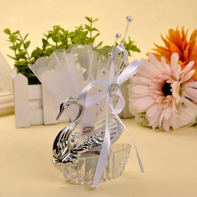 1 sztuka akrylowe Wedding Favor Swan Bomboniere pudełko cukierków ślub stron dekoracje urodzinowe pudełko na cukierki