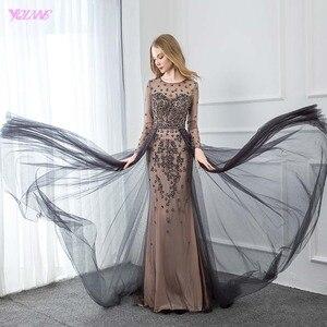 Image 3 - YQLNNE élégant gris à manches longues robe de soirée O cou perlé Tulle formel femmes robes de soirée