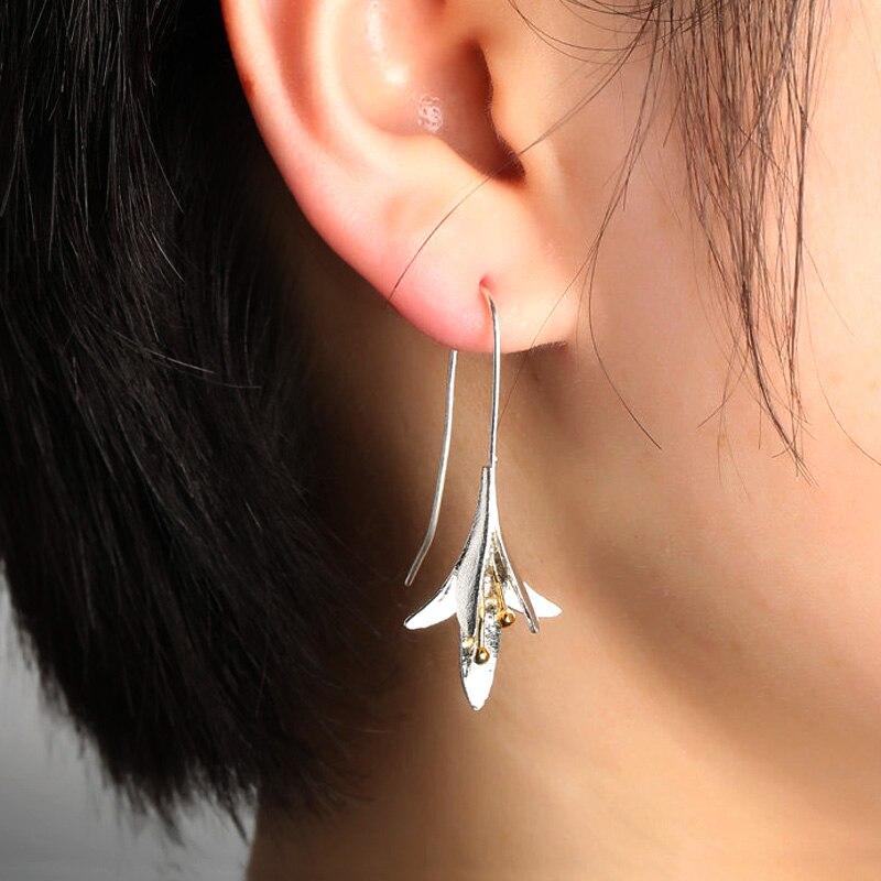 Huitan Creative Two Tone Flower Shaped Women's Earrings Hip Hop Party Anniversary Love Gift Delicate Dangle Earrings for Female