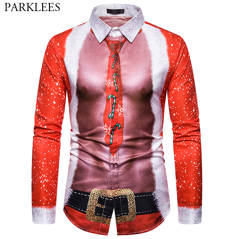 Sexy Pectoral Muscle 3D Christmas Print Men Shirt Fake Two Pieces Men Long Sleeve Funny Dress Shirts Men Party Festival Chemise