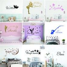 Nome personalizado dos desenhos animados adesivo de parede decalques murais cartaz para crianças babys decoração do quarto
