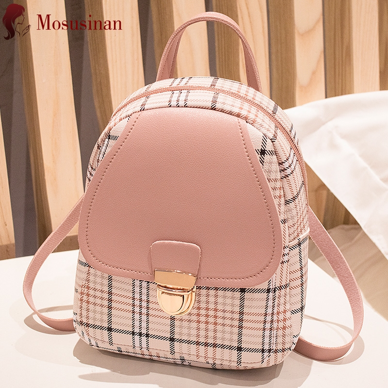 Fashion Women Backpack Cute Lattice Printing Small Back Pack Teenage Girl PU Leather Mobile Phone Bag Cheap Shoulder Chest Bag