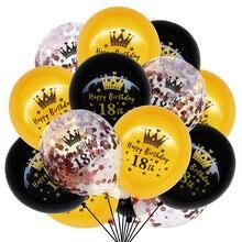 15 unids/set globos de feliz cumpleaños Oro Negro confeti para corona globo 16 18 21 30 40 50 60 años decoración con globos de cumpleaños