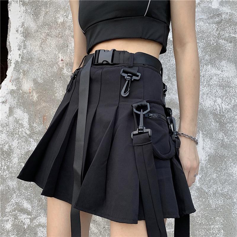 Casual Harajuku Solid A-Line Women Skirt Vintage Pleated Pockets High Waist Skirts Korean Sashes Above Knee Kawaii Skirts