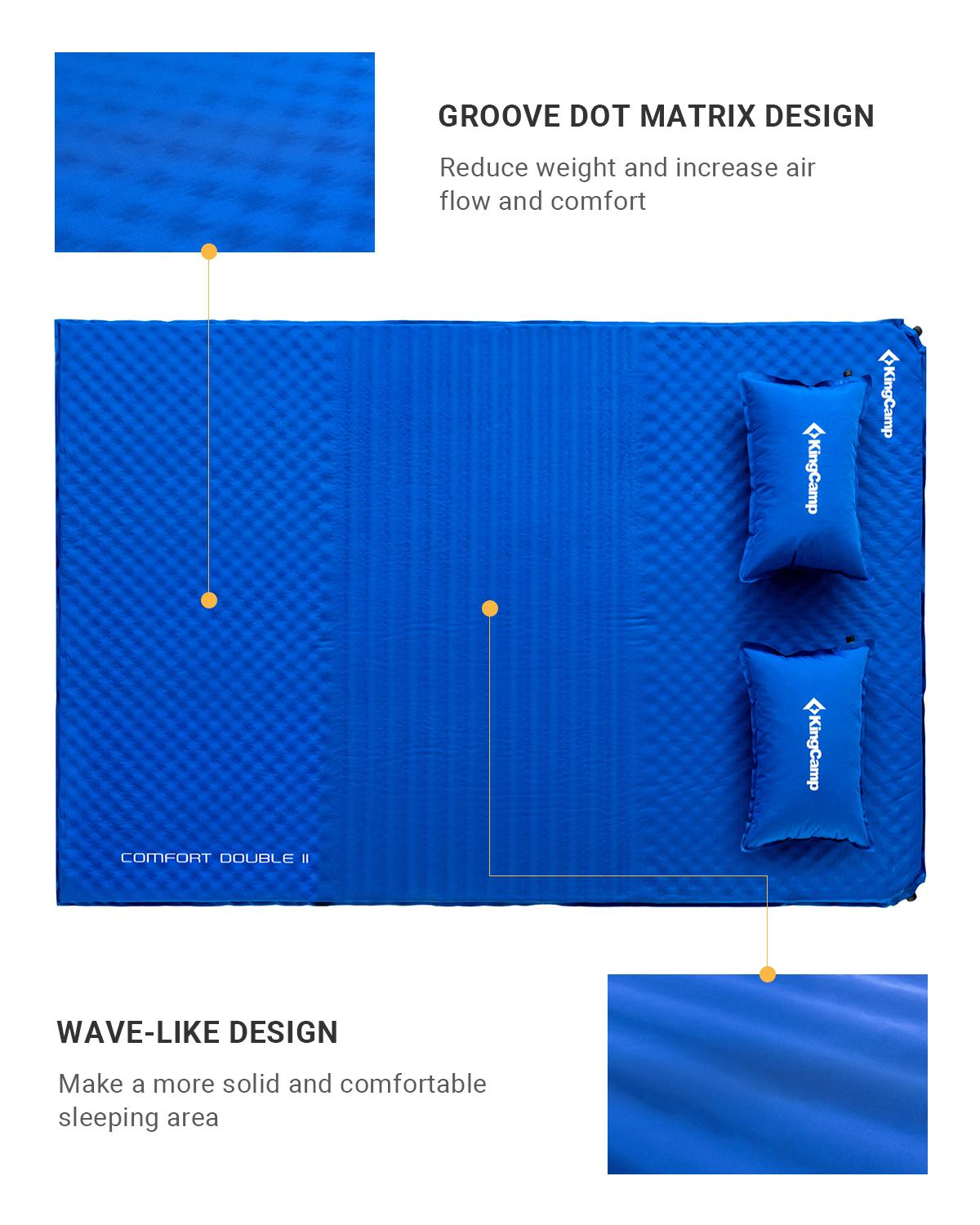 KingCamp Double Self Inflating Camping Bed Mattress Three Section Comfort Design with Pillow 198 x 130 x 4 cm