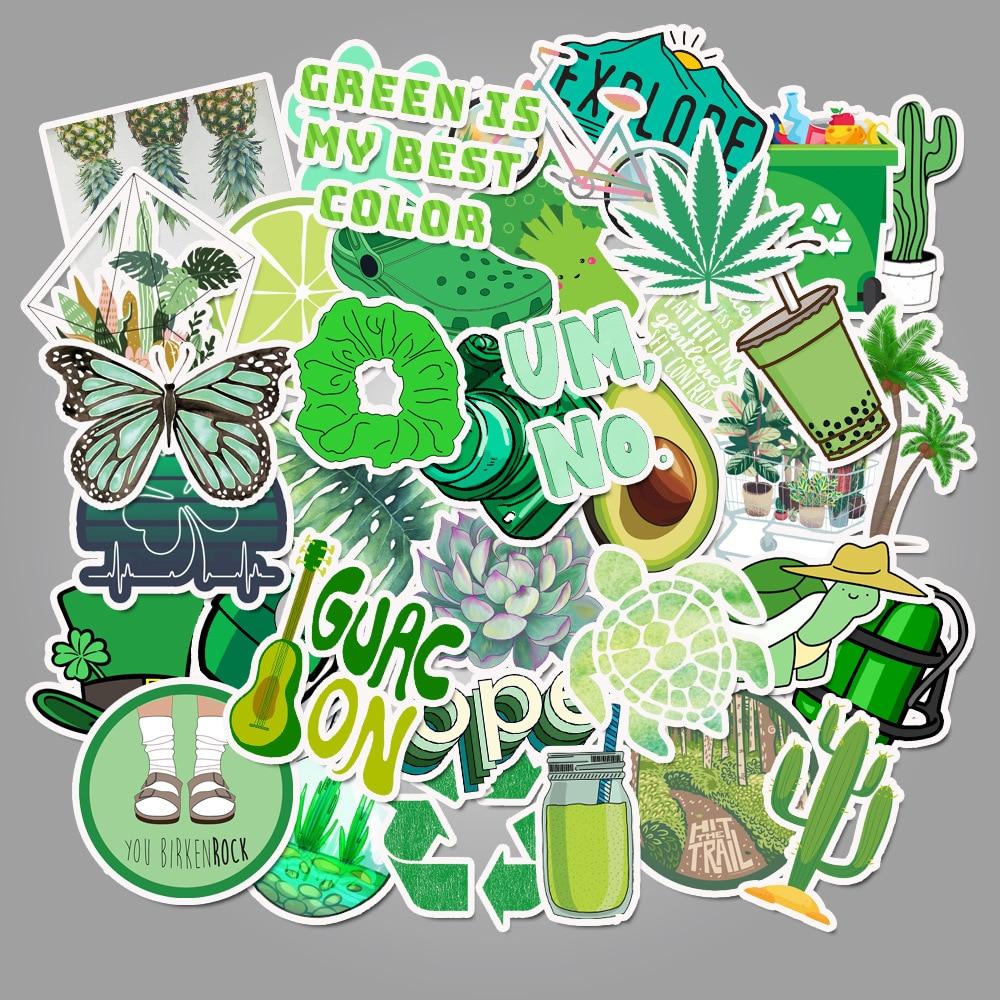 50 Pcs/pack Girls' Green Graffiti PVC Waterproof Decorative Stickers Scrapbooking Stick Label Diary Stationery Album Stickers