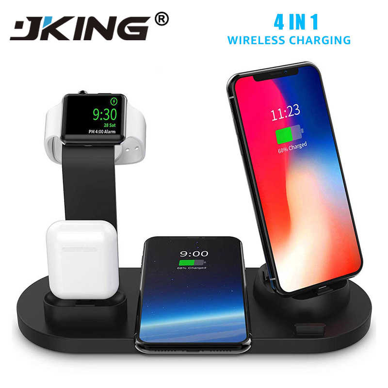 JKING 4 in 1 Qi Wireless Charger For iPhone 11 X XS XR 8 10W USB Type C Fast Charging Dock Stand for Apple Watch 5 4 3 2 Airpods