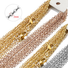 10pcs/lot Width 2mm Cut Rolo Link diy stainless steel Chain Rose Gold/Gold/Steel Cuban Chains Necklaces Pendant Wholesale