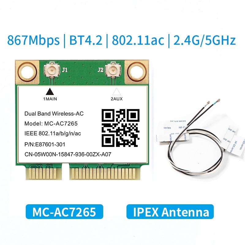 1200 Мбит/с, компактная PCI-E Wi-Fi карта 802.11ac, беспроводной адаптер, Bluetooth 4,2, двухдиапазонный 2,4G/5 ГГц, улучшенный ноутбук 7260HMW