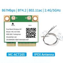1200mbps MC-AC7265 metade mini pci-e wifi cartão 802.11ac adaptador sem fio bluetooth 4.2 banda dupla 2.4g/5ghz melhor 7260hmw portátil