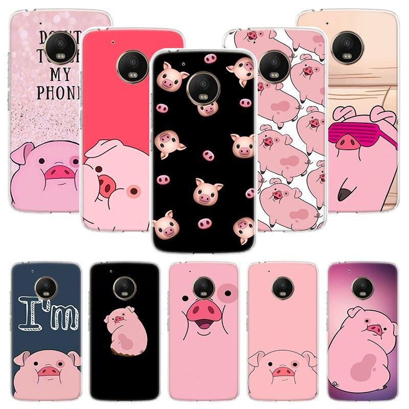 Cute PINK Kawai Pig Case For Motorola Moto G8 G7 G6 G5S G5 E6 E5 E4 Plus G4 Play Power X4 One Action Phone Cover Coque
