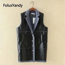PU thick winter Vest women plus size 4XL 5XL black fashion V neck casual vests singe breasted KKFY4017