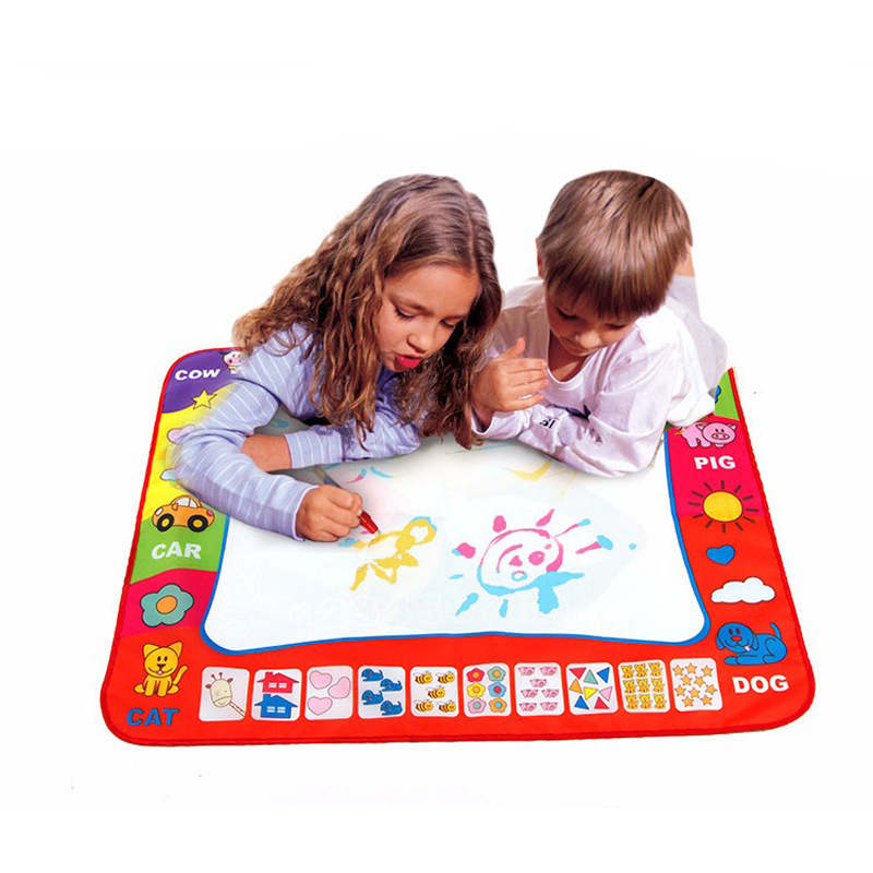 Drawing Toys 60*80 Cm Children's Magic Water Canvas Blanket Write Graffiti Pen Doodle Toy Creative Reuse,one Canvas + Two Pens