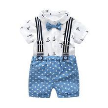Fashion Gentleman Clothing Cotton Baby Sets Bow Shirt Wholes