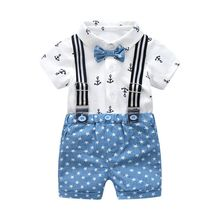 Fashion Gentleman Clothing Cotton Baby Sets Bow Shirt Wholesale Children Outfits