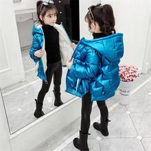 Dziecięcy zimowy ciepły płaszcz dziewczęcy moda dziecięca z kapturem kurtka płaszcz dla dziewczyny odzież wierzchnia w dłuższym stylu dziewczyny ubrania 3-13 lat tanie tanio Ruralrat COTTON Na co dzień Stałe long Kurtki płaszcze zipper REGULAR Pasuje prawda na wymiar weź swój normalny rozmiar