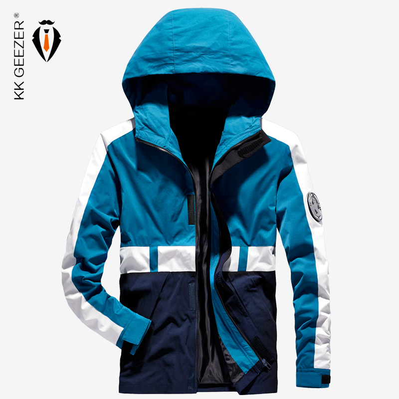 Mens Jackets Spring Autumn Breathable Patchwork Waterproof Coat Bomber Male Jacket Windbreaker Casual Hooded Brand High Quality