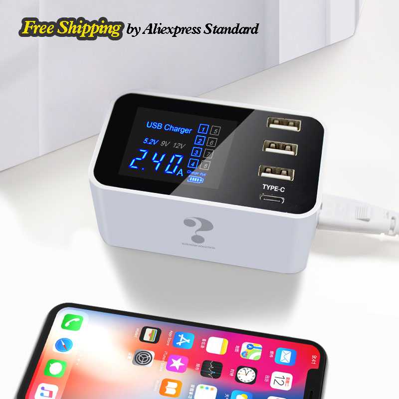 Multi 3 Port Type C Univeral Quick Charge USB Charger for iphone 8 Huawei Xiaomi Samsung Wall Mobile Charger Adapter Station Hub in Mobile Phone Chargers from Cellphones Telecommunications