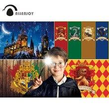 Allenjoy Magic Castle School Wizard Achtergrond Fotografie Achtergrond Verjaardag Halloween Party House Vlag Decor Levert Banner