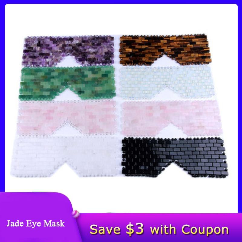 Rose Quartz Eye Mask Massager Natural Jade Eye Mask Stone Sleep Mask Face Massager Sleeping Eye Mask For Eye Relax Eye Care Tool