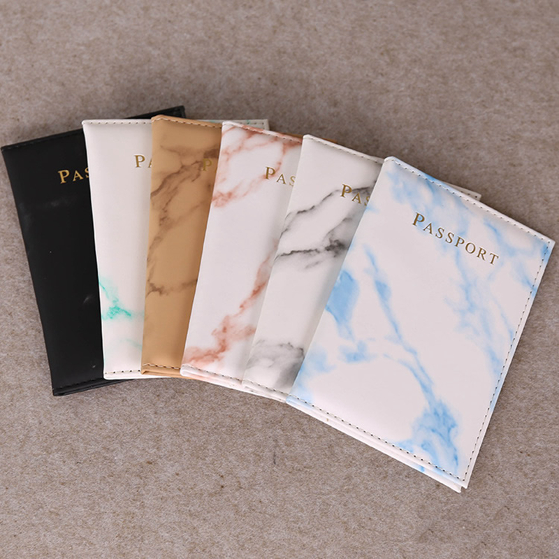 Travel Accessories Vintage Marble Passport Holder ID Cover Women Men Portable Bank Card Passport Business PU Leather Wallet Case
