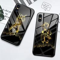 Funda de vidrio templado para iPhone, carcasa de anime dorado para iPhone 11 12 pro max, 6, 6s, 7, 8 Plus, XS Max, XR, SE2