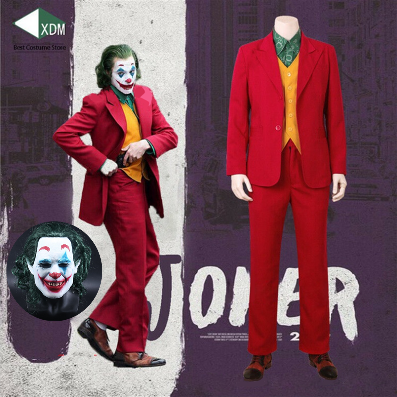 2019 New Joker Cosplay Costume Clown Halloween Party Costume Joker Men Movie Uniform Clown Business Suit Wig Free Shipping
