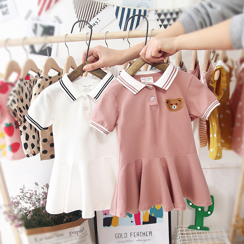 Girls Dress Summer 2019 New Style Western Style Girls College Style Polo Shirt Dress Baby Pleated Skirt Short