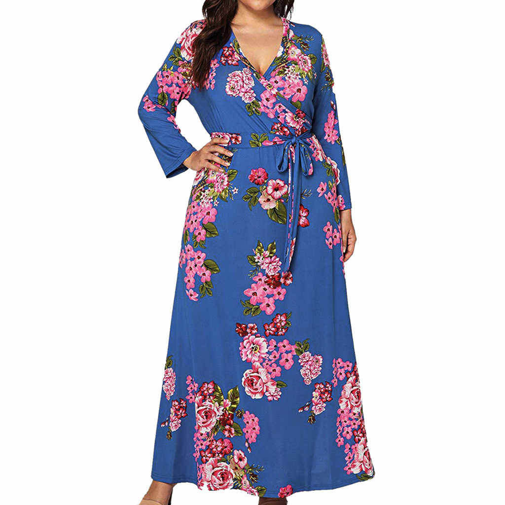 New Hot Sale Plus Size Floral Women Autmn Boho Maxi Long Dress Black Blue Yellow Long Sleeve Beach Party Evening Sundress#J30