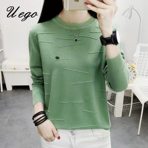 Uego Korea Style O-neck Knitted Pullover Sweater Women 2020 Autumn Sweaters Basic Shirt Tops Short Lady Spring Casual Sweaters