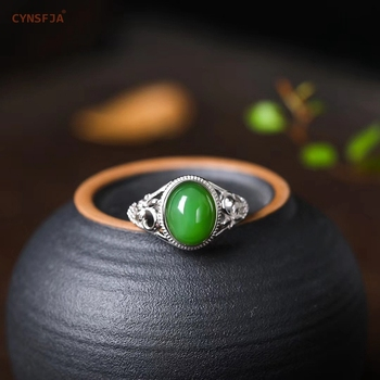 CYNSFJA Real Certified Natural Hetian Jade Jasper 925 Sterling Silver Lucky Amulets Green Jade Ring High Quality Best Gifts