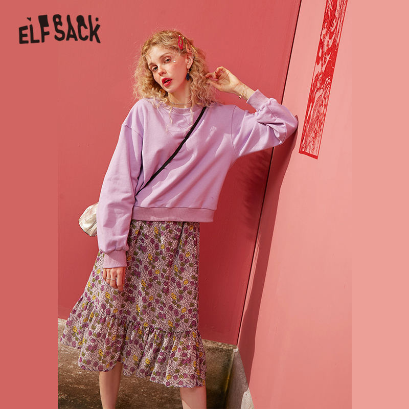 ELFSACK Black Solid Floral Casual Pullover Women Matching Sets 2020 Spring Purple Elastic Waist Korean Ladies Two Piece Suits
