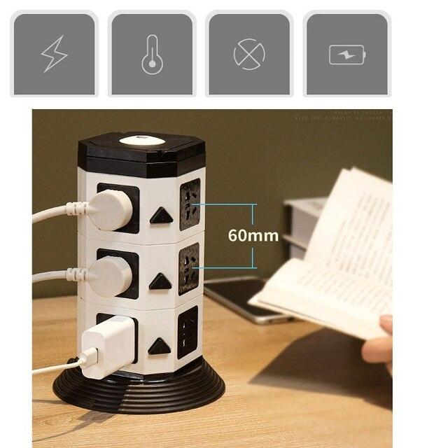 Башня Мощность полосы (цифровое управление) Вертикальная Розетка 7/11/15 розетка с двумя USB розеток Удлинительный шнур светодиодный освещения