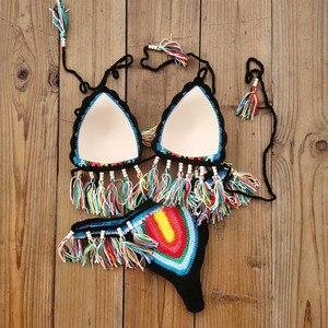 Image 3 - Handmade Crochet Bikini Set Rainbows Rasta Tassel Women Swimwear Push UP Sexy Swimsuit Vacation