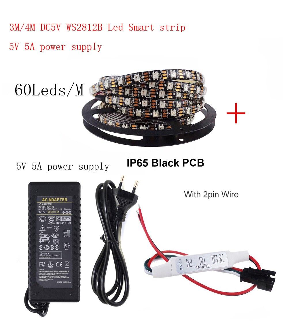 5m DC5V WS2812B bande de LED 604 pixels/LED s/m WS2812 IC Smart 5050 RGB LED lumière de bande + 5V alimentation en alimentation LED + LED de contrôle