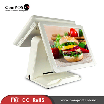 Small touch error POS system 5 wire resistive screen dual screen POS terminal with MSR for McDonald's