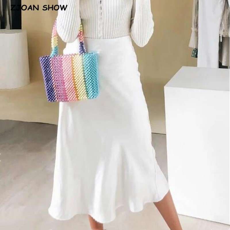Retro High Waist Bright Satin Skirt Spring Summer Women Mid Long A-line Skirts Femme 2020 New White Khaki