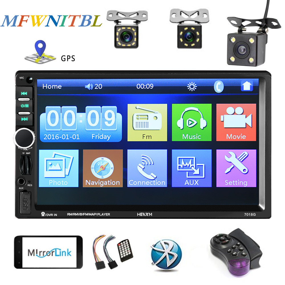 LTBFM Universal Car <font><b>Multimedia</b></font> Player <font><b>2</b></font> <font><b>din</b></font> Car Radio <font><b>GPS</b></font> Navigaiton Autoradio Bluetooth Touch MP5 Player TF USB FM Camera image