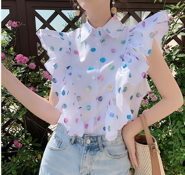 2019 Sweet Women Sleeveless Ruffles Shirts Woman Short Shirts Ruffles Tops Lady Short Dot Tops Sleeveless Dot Shirts
